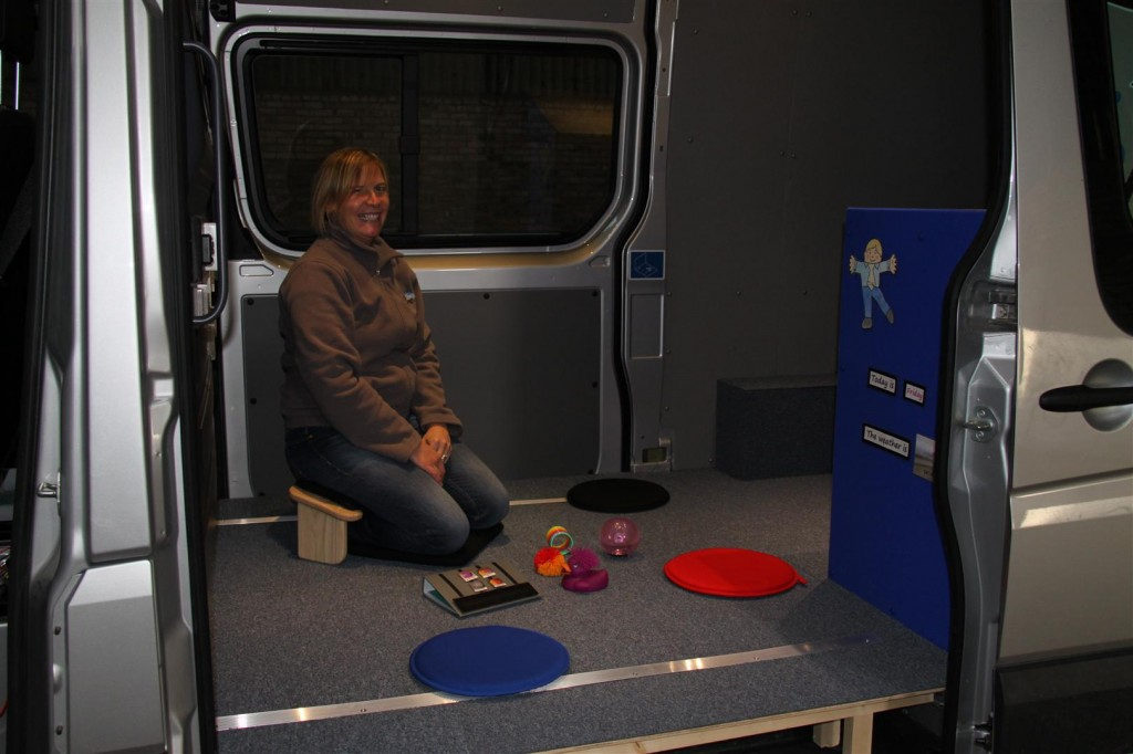 The mobile therapy room set up for working on the floor with pre-schoolers or children at early stages of development