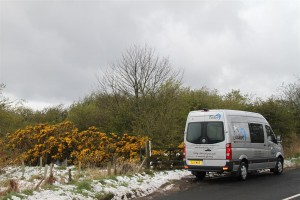 The Mobile Therapy Room in the snow up Garelton Hill, East Lothian 3rd April 2012