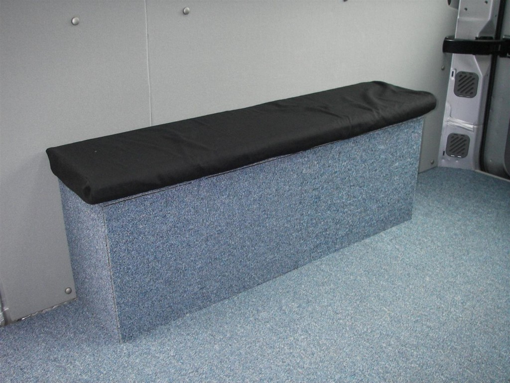 The bench seat with its ned cushion in the mobile therapy room.