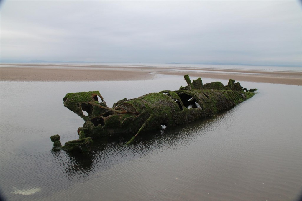 A view of the western submarine wreck at Aberlay Sands, East Lothian