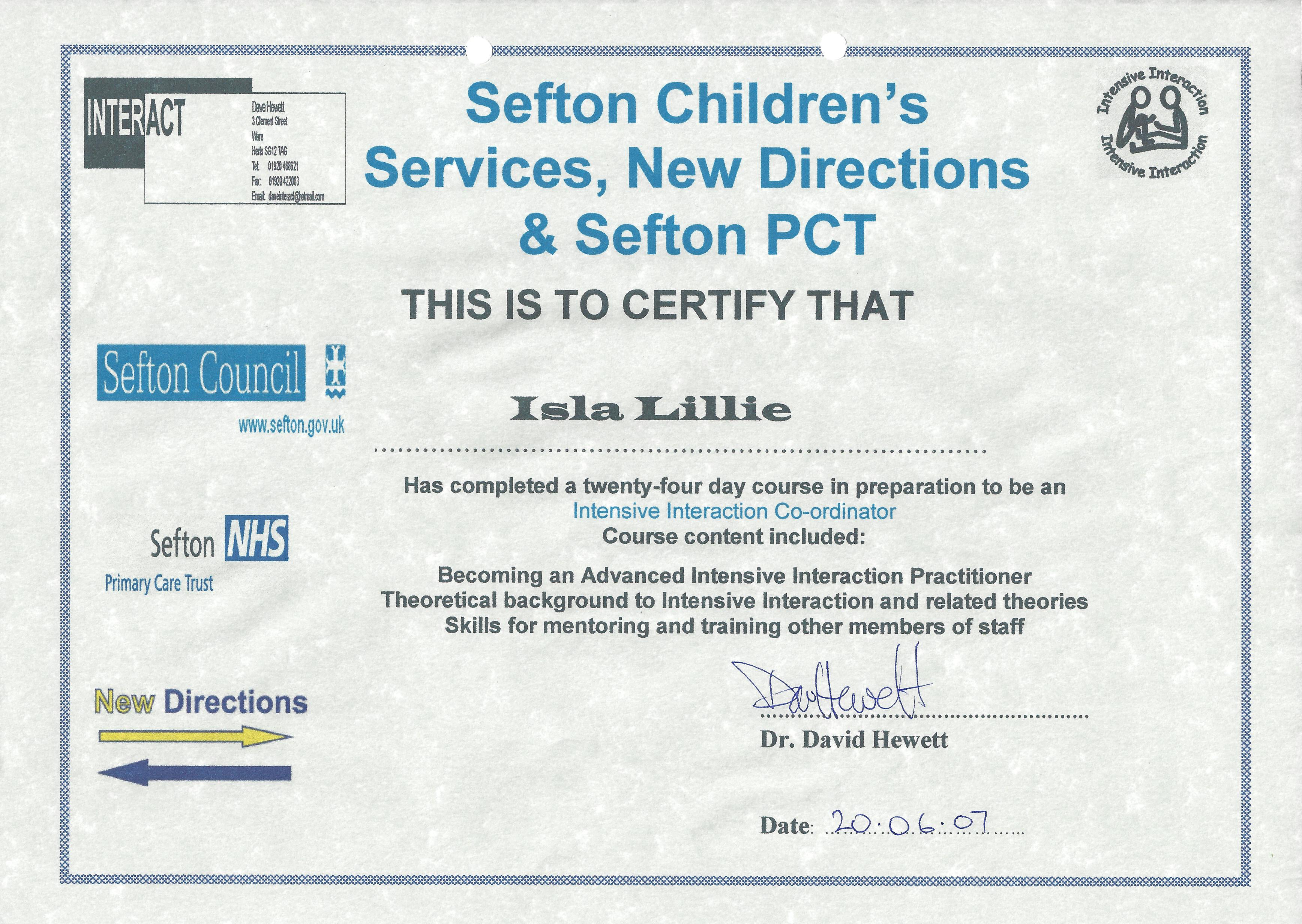 Isla's Intensive Interaction Co-ordinator certificate