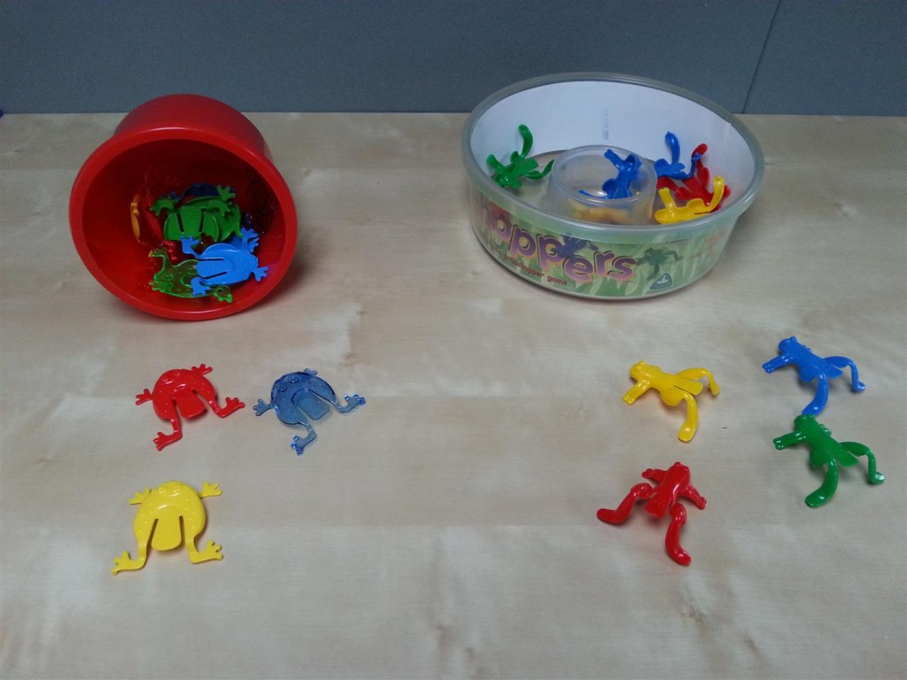Two of the sets of jumping frogs available on the market