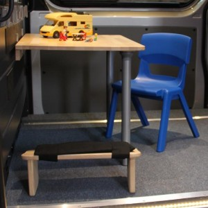 A photo of Isla's kneeling stool in the Blethers mobile therapy room