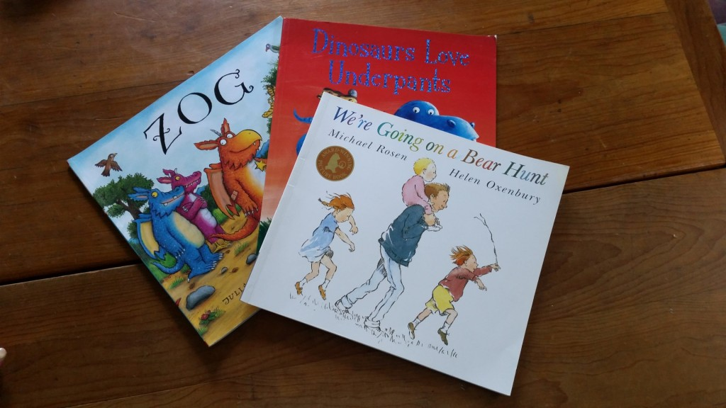Photo of popular childrens' books , Zog, Bear Hunt and Dinosaurs Love Underpants